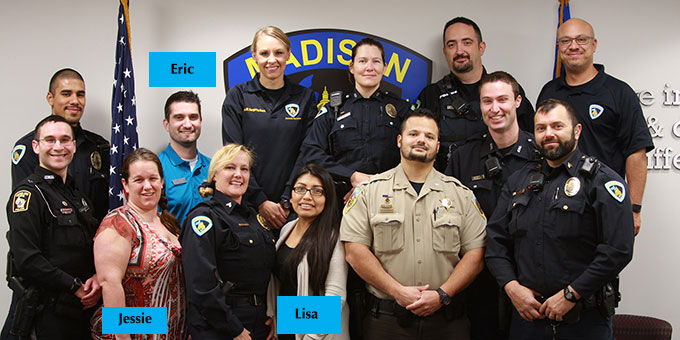 DCCU staff pose with MPD officers