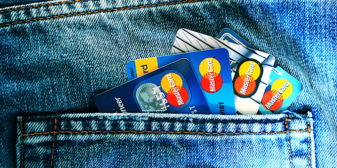 Credit cards in pocket need paying off